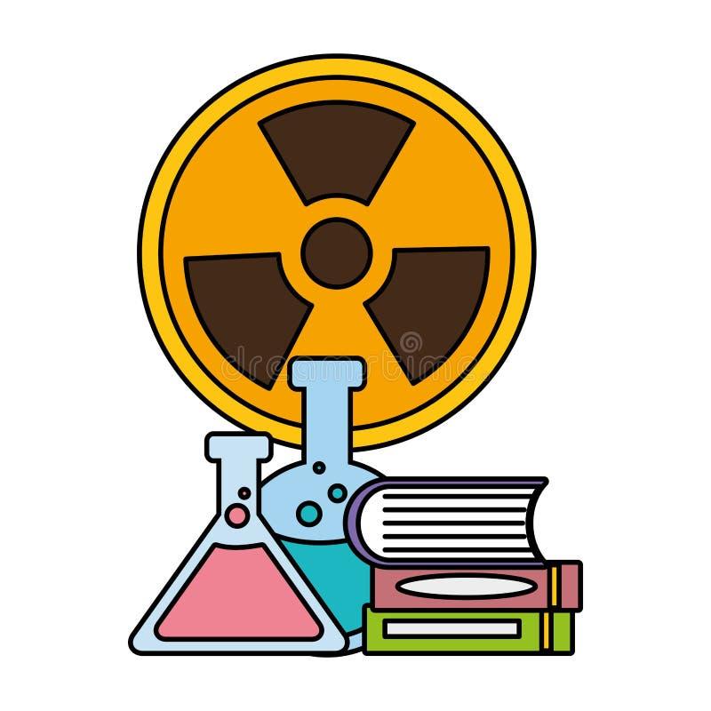 Muestra de la radiación de los libros de los frascos ilustración del vector