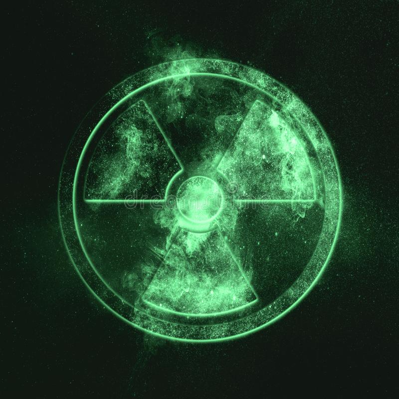 Muestra de la radiación, símbolo del verde del símbolo de la radiación imagenes de archivo
