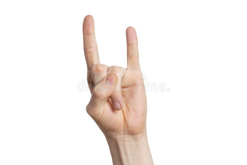 Muestra de la roca de la demostración de la mano del hombre, gesto de la cabra aislada en el fondo blanco imagen de archivo libre de regalías