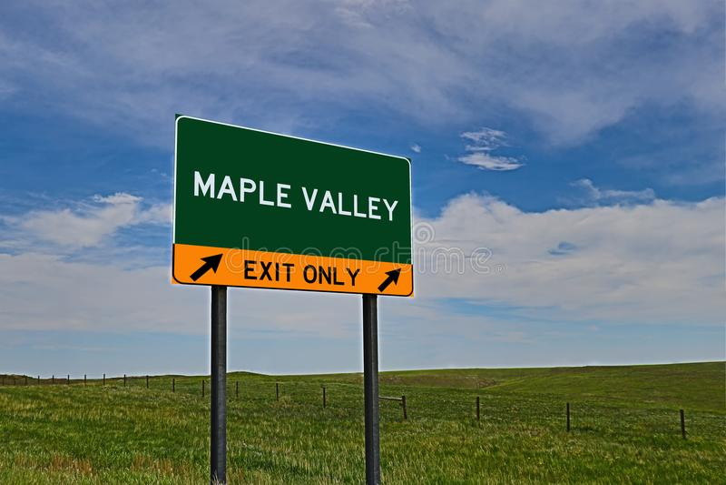 Muestra de la salida de la carretera de los E.E.U.U. para el valle del arce fotografía de archivo
