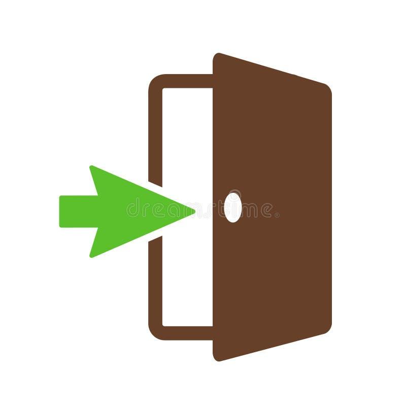 Muestra de la salida de emergencia, diseño plano de icono de la puerta de salida o estrategia d libre illustration
