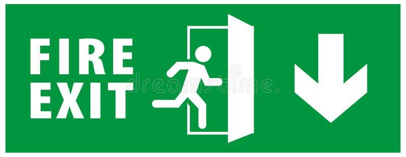 Muestra de la salida de socorro de la emergencia icono de funcionamiento del hombre a la puerta Color verde Vector de la flecha p stock de ilustración