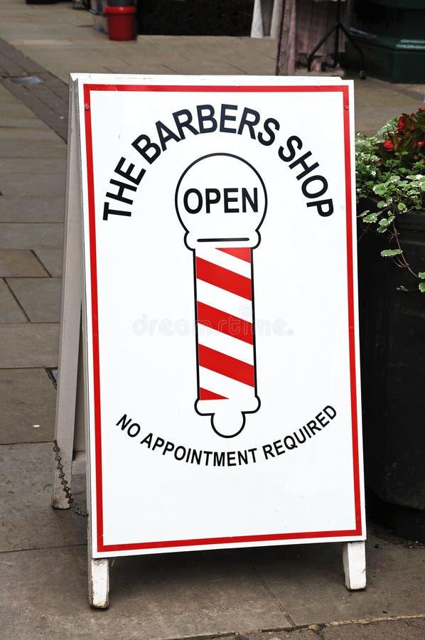 Muestra de la tienda de peluqueros, Leominster imágenes de archivo libres de regalías