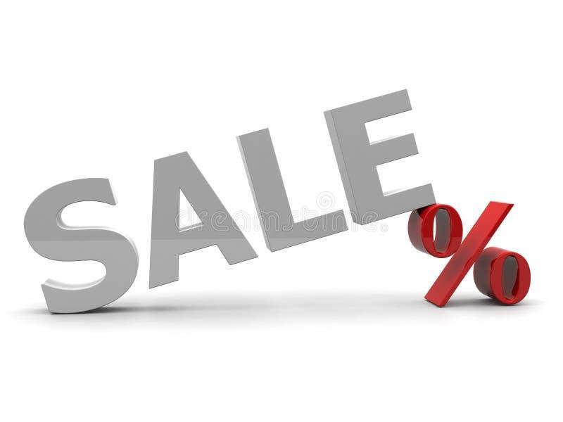 muestra de la venta 3D y del por ciento aislada sobre blanco stock de ilustración
