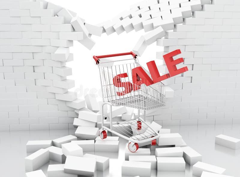 muestra de la venta 3d de un carro de la compra que se rompe a través de una pared de ladrillo libre illustration