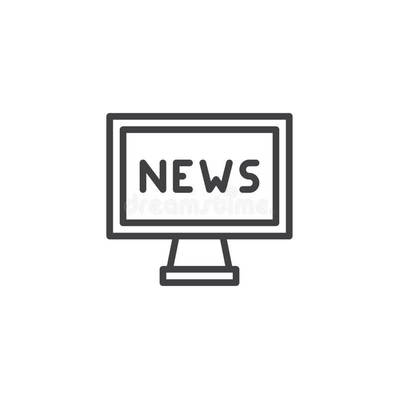 Muestra de las noticias en icono del esquema de la TV stock de ilustración