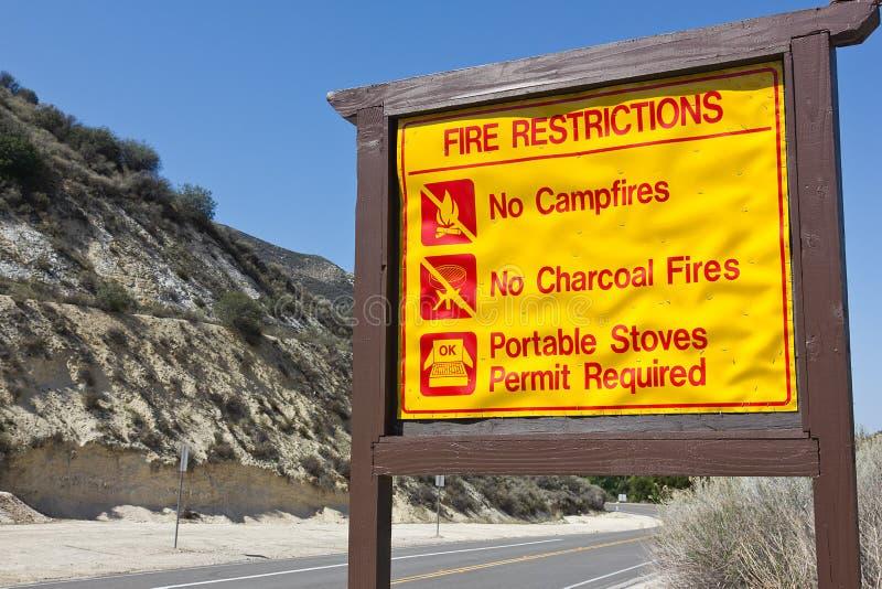 Muestra de las restricciones del fuego fotos de archivo libres de regalías