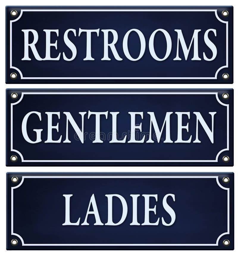 Muestra de las señoras de los caballeros de los lavabos libre illustration