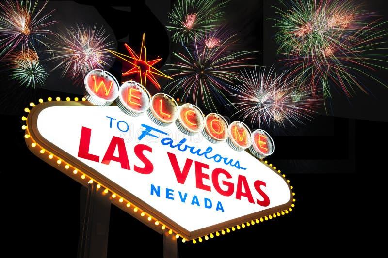 Muestra de Las Vegas con los fuegos artificiales imágenes de archivo libres de regalías