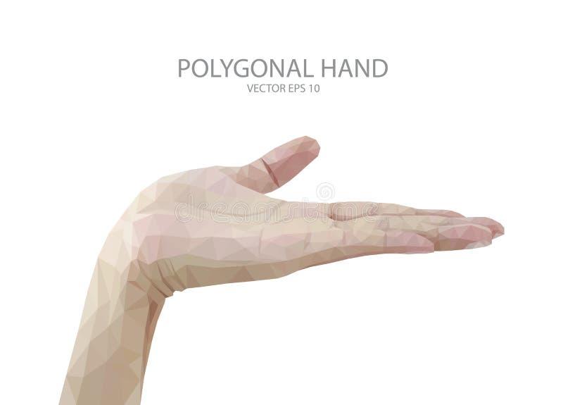 Muestra de los fingeres de la mano del polígono ilustración del vector