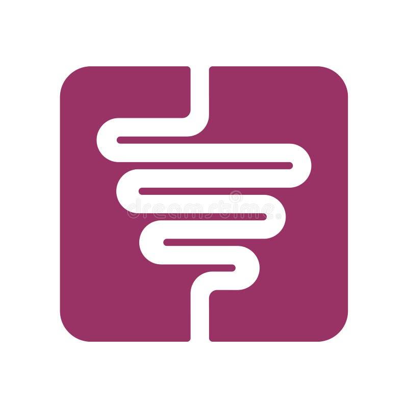 Muestra de los intestinos icono del aparato digestivo Símbolo humano de la tripa Vector stock de ilustración