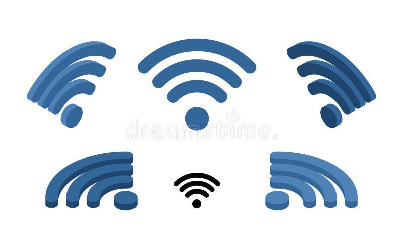 Muestra de los Wi fi isométrica Logotipo para la red inalámbrica Transmisión de ilustración del vector