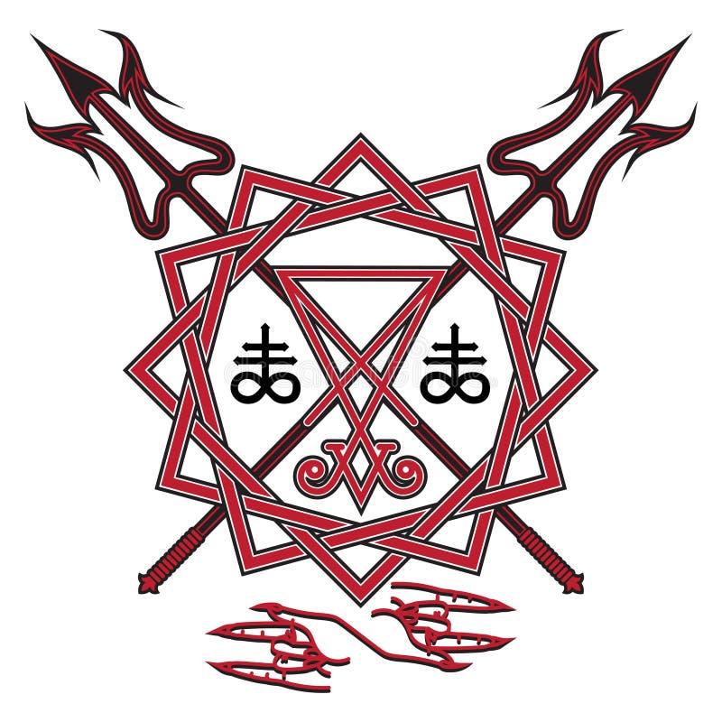Muestra de Lucifer, del pentagram y del bieldo cruzado del ` s del diablo stock de ilustración