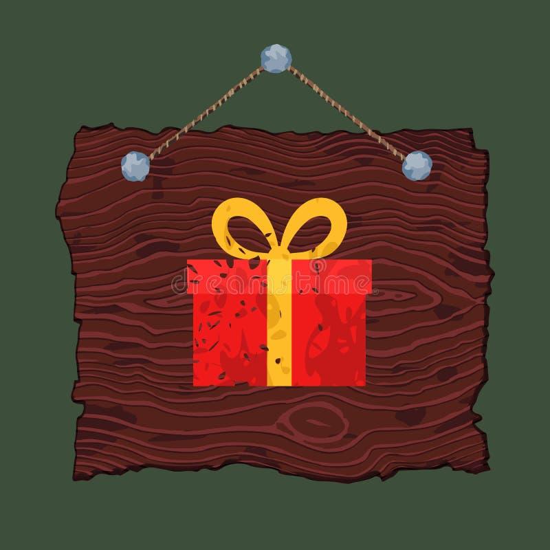 Muestra de madera con el regalo stock de ilustración