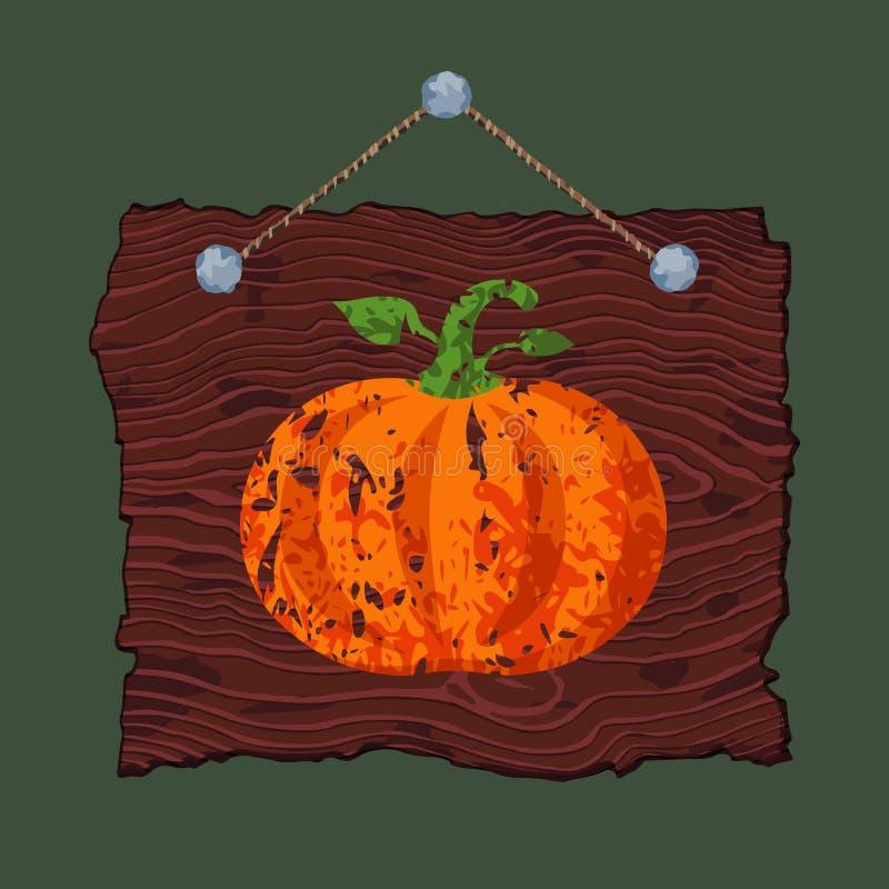 Muestra de madera con la calabaza ilustración del vector
