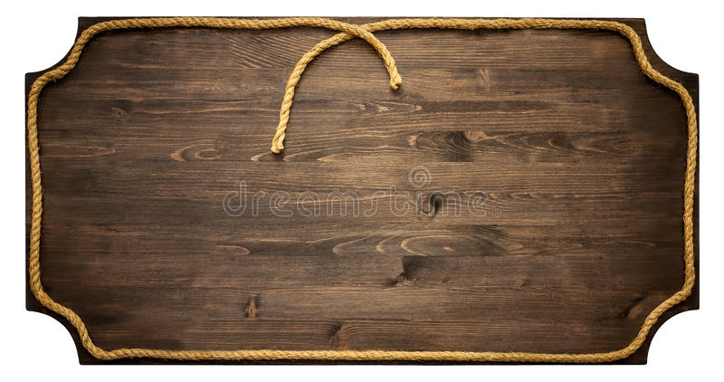 Muestra de madera con la cuerda aislada en el fondo blanco fotos de archivo libres de regalías