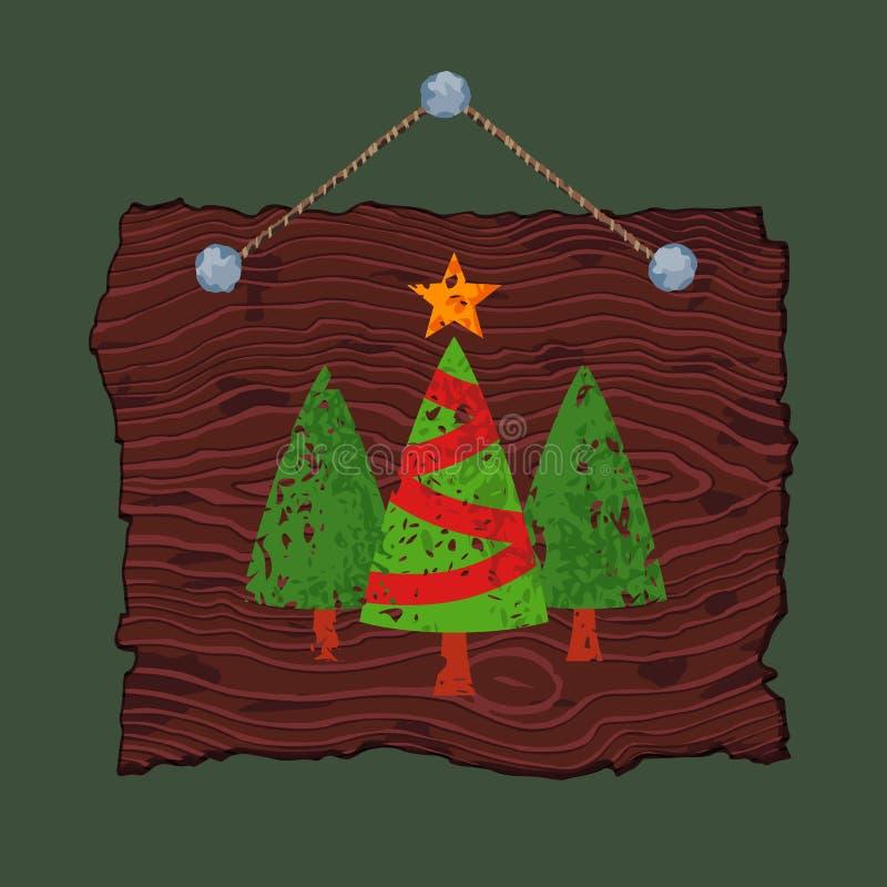 Muestra de madera con los árboles ilustración del vector
