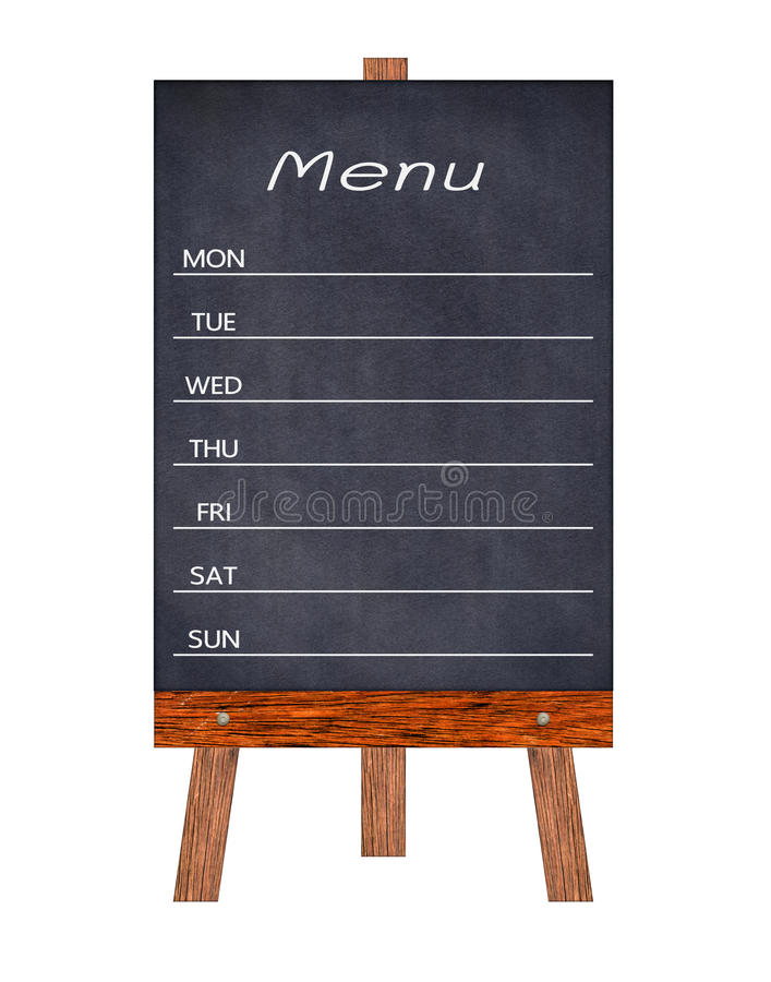 Muestra de madera de la exhibición del menú, tablero de mensajes del restaurante del capítulo, aislado en el fondo blanco fotos de archivo libres de regalías