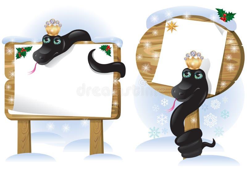 Muestra de madera de la serpiente negra ilustración del vector