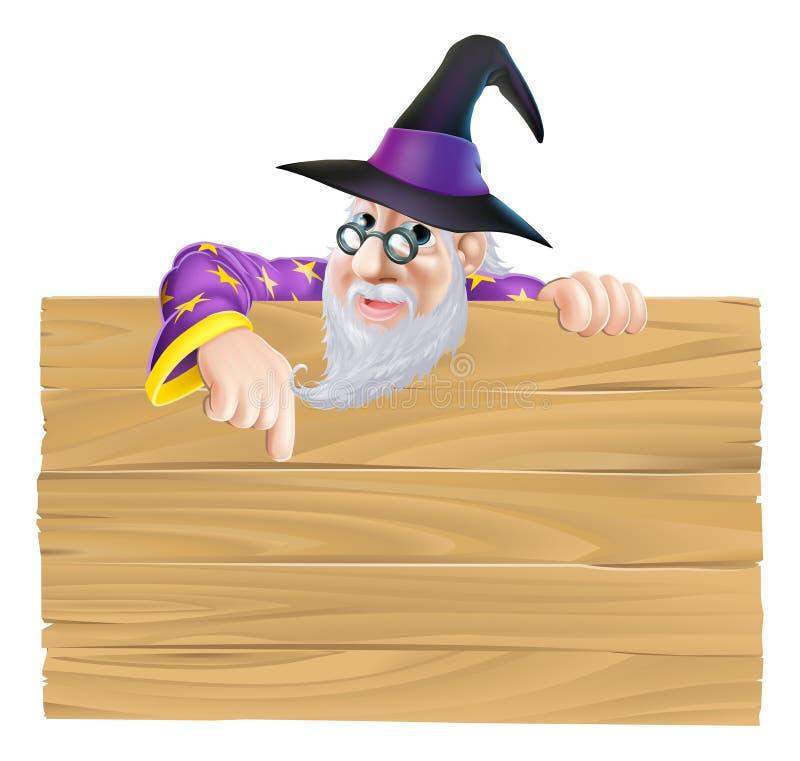 Muestra de madera del mago de la historieta libre illustration