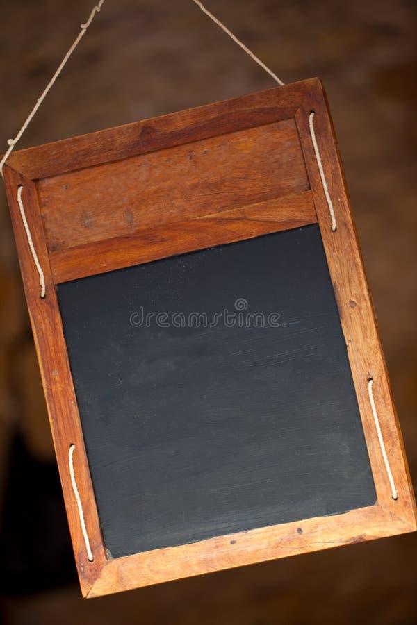 Muestra de madera del menú de la pizarra de la ejecución limpia del espacio en blanco fotografía de archivo