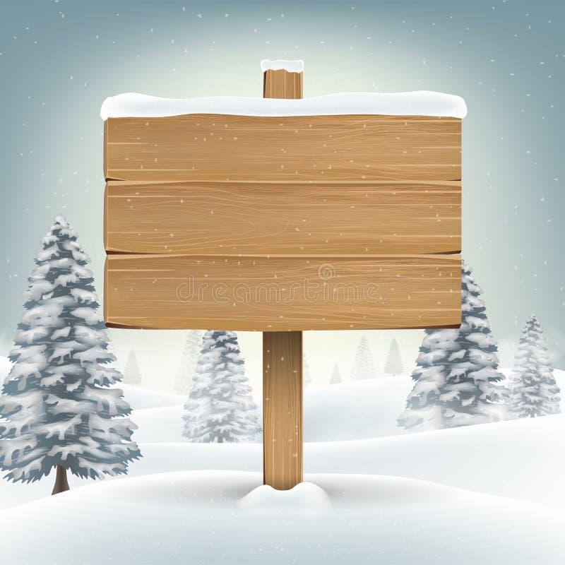 muestra de madera del tablero de la Navidad con invierno de la nieve ilustración del vector