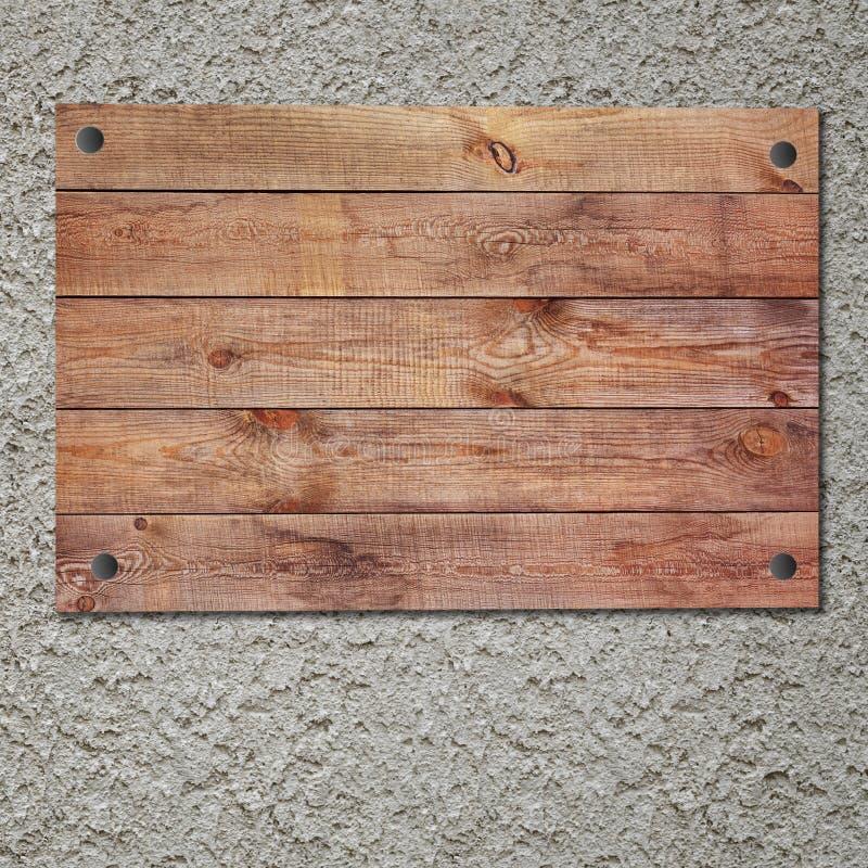 Muestra de madera del vintage en el muro de cemento del estuco imagen de archivo libre de regalías