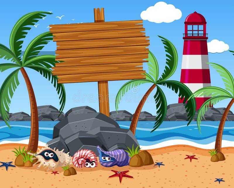 Muestra de madera en la playa con los cangrejos de las estrellas de mar y de ermitaño stock de ilustración