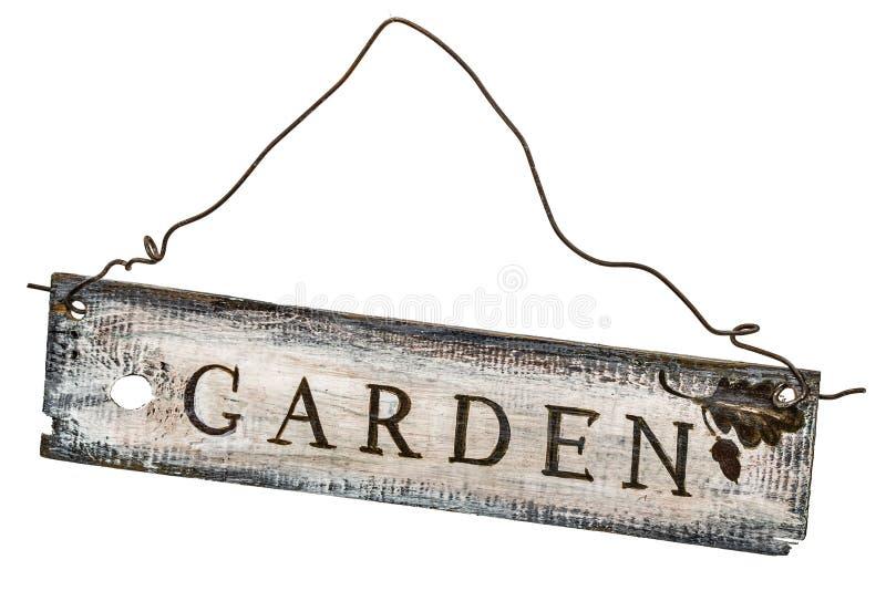 Muestra de madera en un fondo blanco - jardín del vintage ilustración del vector