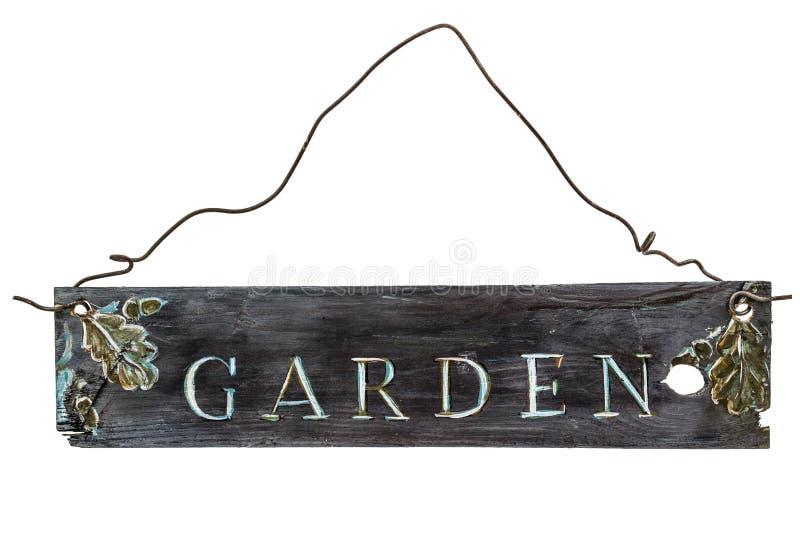 Muestra de madera en un fondo blanco - jardín del vintage stock de ilustración
