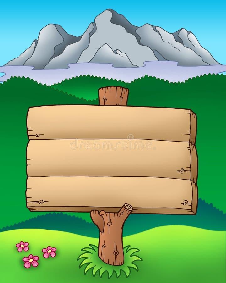 Muestra de madera grande con las montañas stock de ilustración