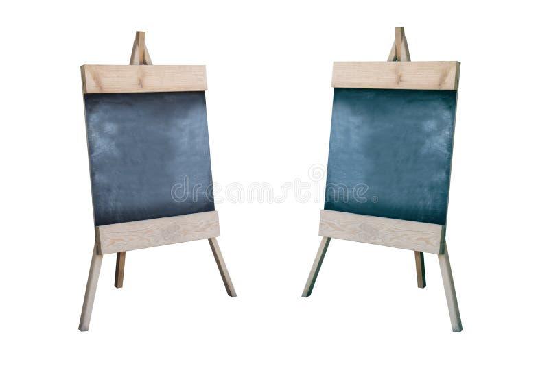 Muestra de madera de la acera con el tablero negro en blanco del menú imágenes de archivo libres de regalías