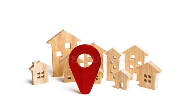 Muestra de madera de la ciudad y de la ubicación de las casas concepto de precios en aumento imagen de archivo