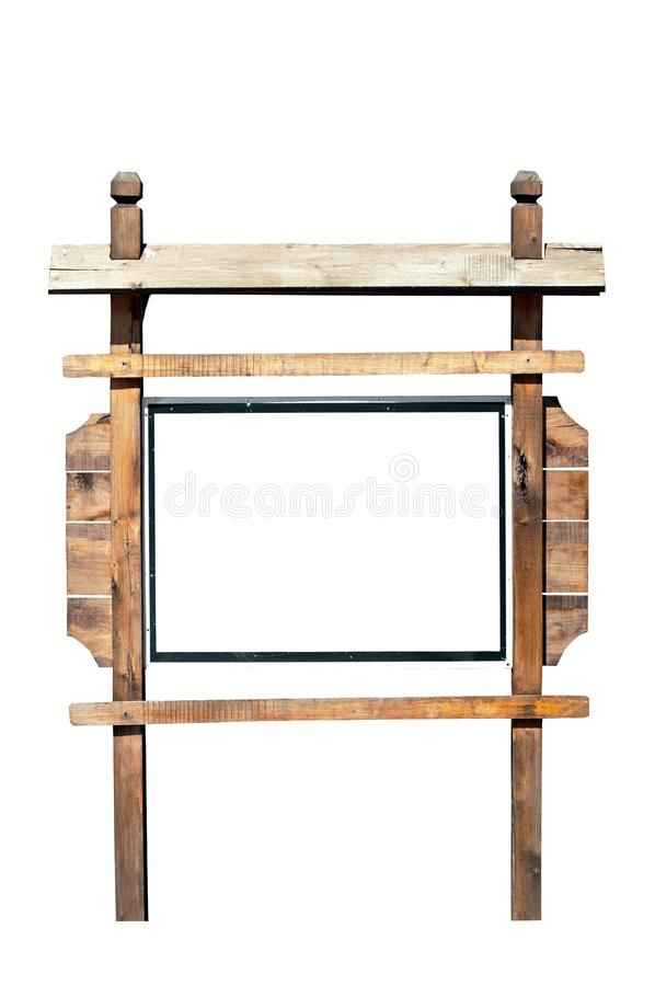 Muestra de madera vacía de la cartelera aislada en blanco foto de archivo libre de regalías