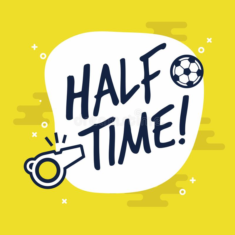 Muestra de medio tiempo para el juego del fútbol o de fútbol Vector plano en fondo amarillo stock de ilustración