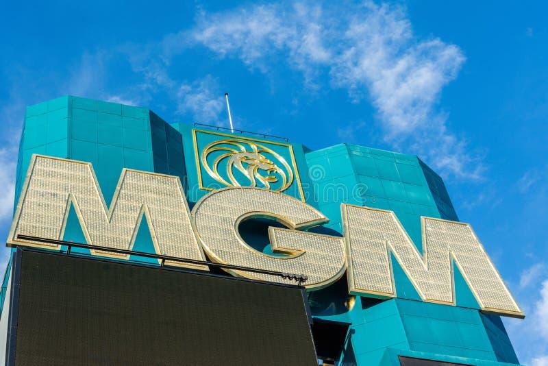 Muestra de MGM en la fachada del hotel y del casino de MGM Grand en Las Vegas, nanovoltio imagen de archivo libre de regalías
