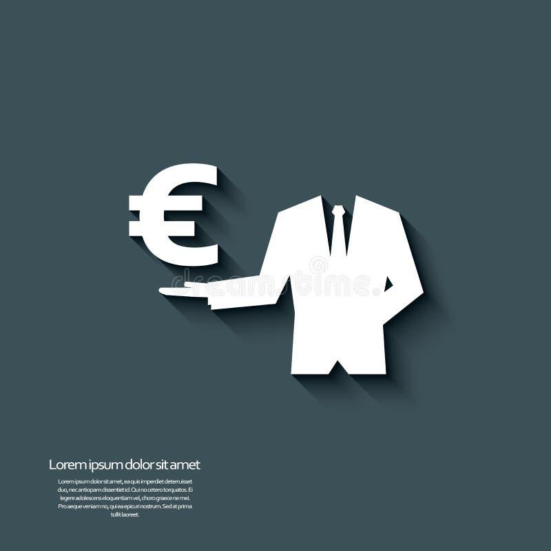 Muestra de moneda euro con la sombra larga y el efecto 3d libre illustration