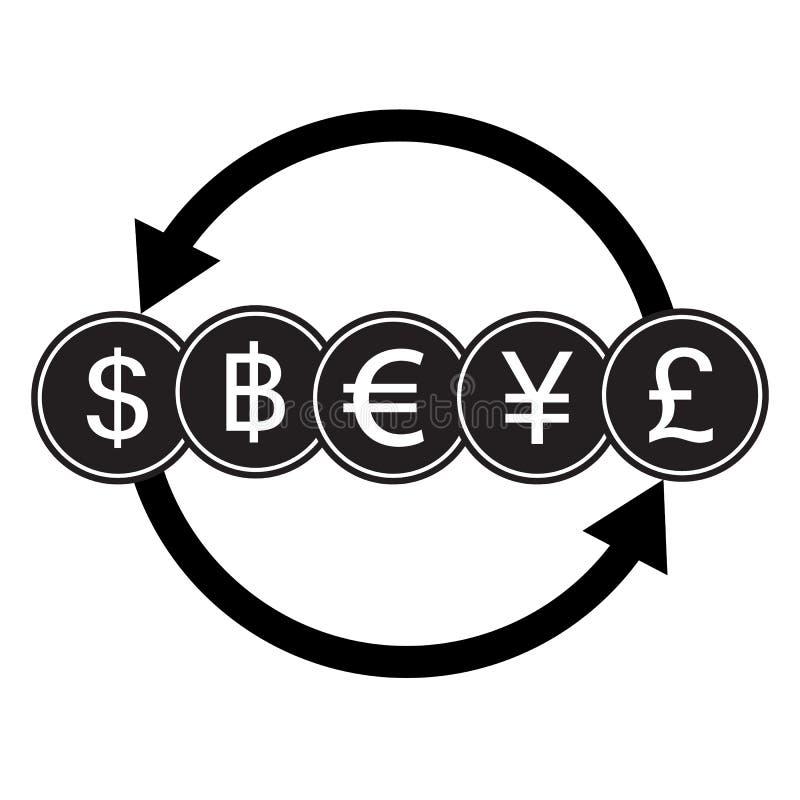 Muestra de moneda de las actividades bancarias El dólar, el baño, el euro, los yenes y la libra cobran el tr stock de ilustración