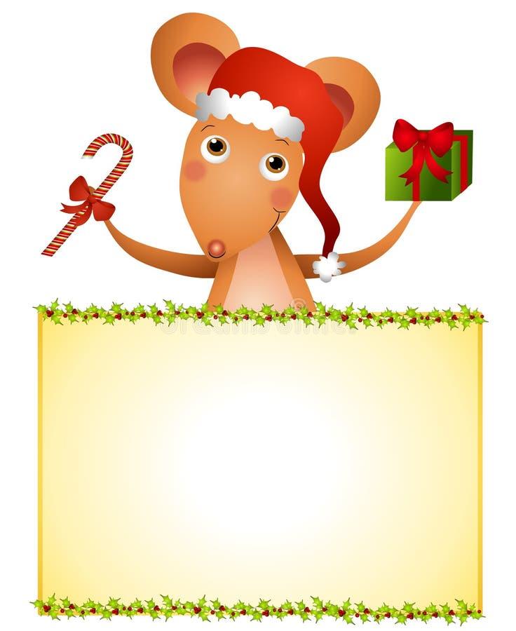 Muestra de Navidad del ratón de Santa stock de ilustración