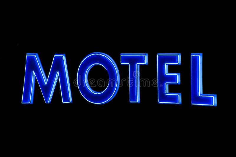 Muestra de neón azul del motel en la noche libre illustration