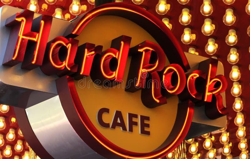 Muestra de neón de Hard Rock Cafe imagen de archivo