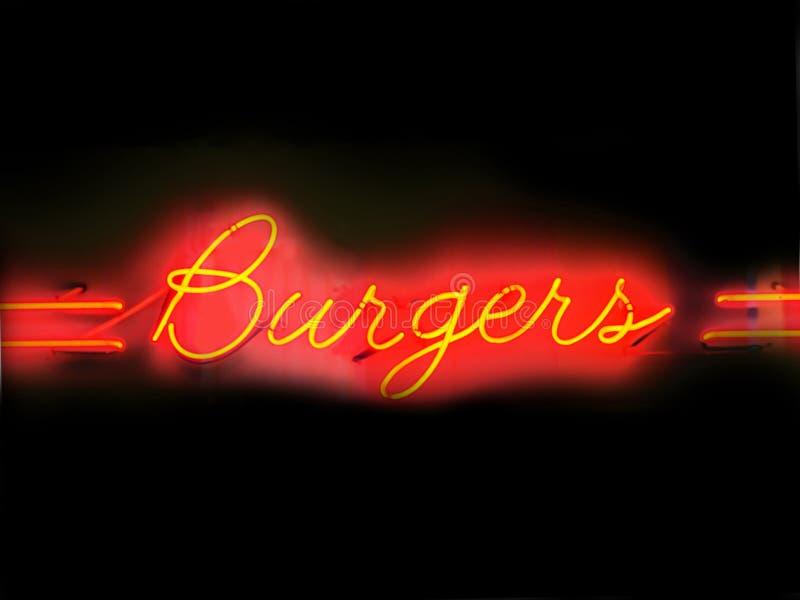 Muestra de neón de las hamburguesas fotos de archivo libres de regalías