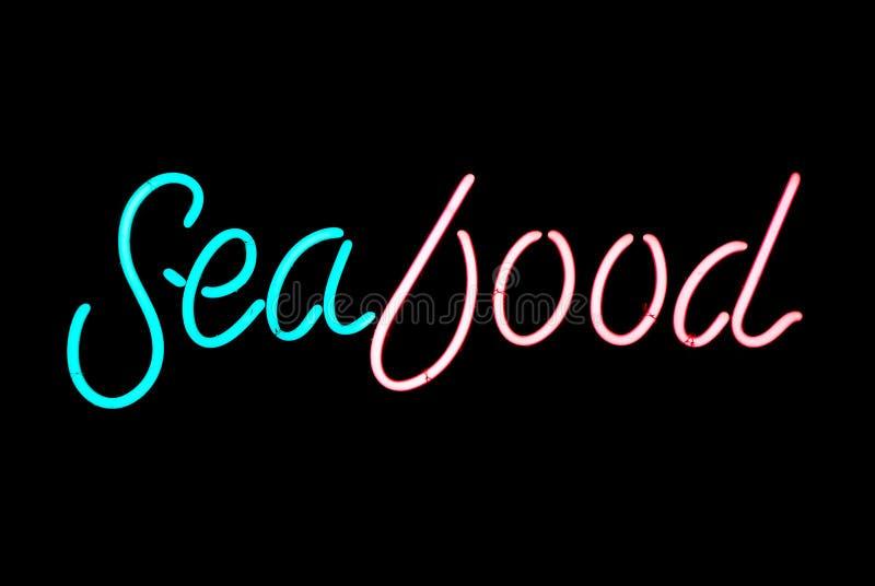 Muestra de neón de los mariscos imagen de archivo