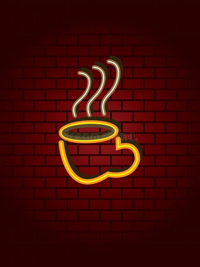Muestra de neón del café ilustración del vector