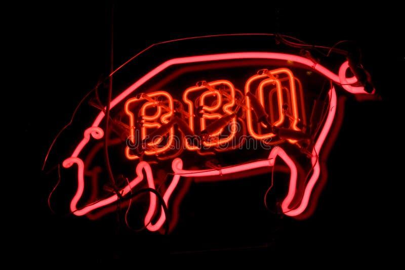 Muestra de neón del cerdo del Bbq fotos de archivo libres de regalías