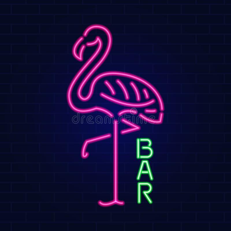 Muestra de neón del efecto que brilla intensamente con el flamenco rosado concepto del club o de la barra de noche En fondo oscur ilustración del vector