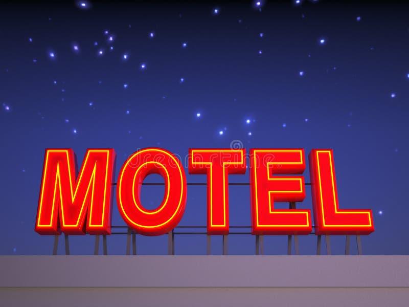 Muestra de neón del motel con un cielo nocturno stock de ilustración