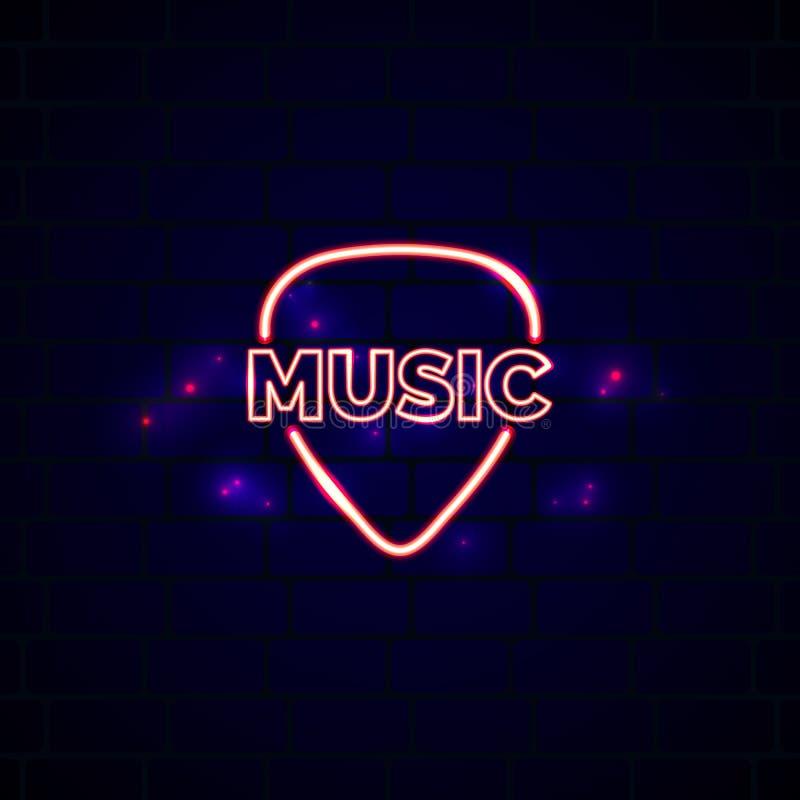 Muestra de neón de la tienda de la música con la púa Emblema del vector de la tienda de la guitarra que brilla intensamente stock de ilustración