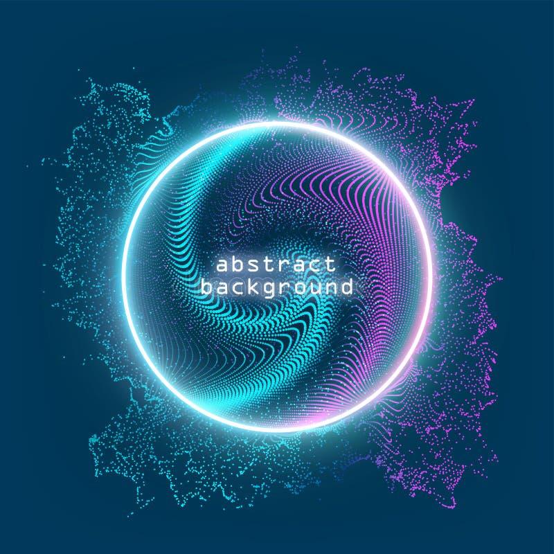 Muestra de neón Marco redondo con brillar intensamente y luz Diseño brillante eléctrico de la bandera del circuito 3d en el conte libre illustration