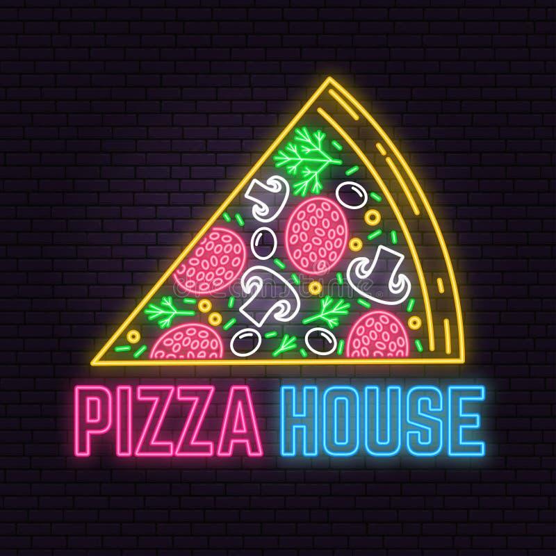 Muestra de neón retra de la casa de la pizza en fondo de la pared de ladrillo Diseño para la muestra o la etiqueta stock de ilustración